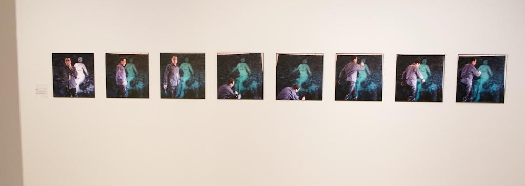 """Bild: Gerhard Richter in seinem Atelier Fürstenwall, Düsseldorf;1967 - Serie """"Diana"""". Ausstellungsfoto: Hartmut S. Bühler"""