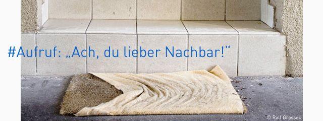 """Bild: Fußmatte vor einer Eingangstür. Fotoaufmacher zum Projektaufruf """"Ach du lieber Nachbar!"""""""